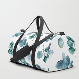 Silver Dollar Watercolor Leaves Duffle Bag