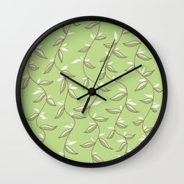 Gentle Green Leaves And Lianas Pattern Wall Clock