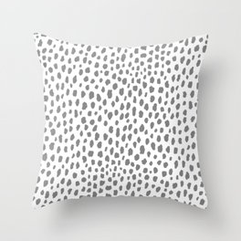 Gray Dalmatian Spots (gray/white) Throw Pillow