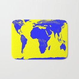 World Map Yellow & Blue Bath Mat