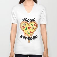 vegetarian V-neck T-shirts featuring Veggie Supreme - Deluxe Vegetarian Heart Shaped Pizza  by MagicCircle