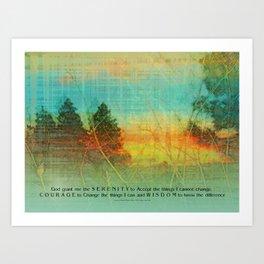 Serenity Prayer Colorful Trees Art Print