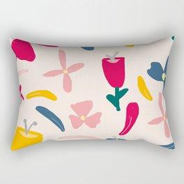 Elegant Floral Pattern on Pink Beige Rectangular Pillow