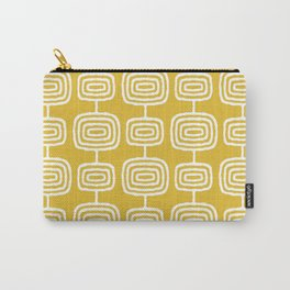 Mid Century Modern Atomic Rings Pattern Mustard Yellow Carry-All Pouch