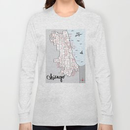 Illustrated Map of Chicago Neighborhoods Long Sleeve T-shirt