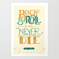 neil young Art Prints featuring Rock & Roll Can Never Die - Neil Young by courtneyblair