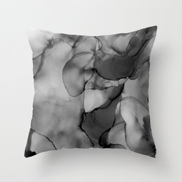 Smoke Dab in the Middle- Black, White, & Grey Abstract Alcohol Ink Painting Throw Pillow