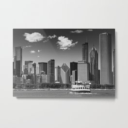 CHICAGO Skyline | Monochrome Metal Print