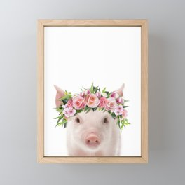Baby Pig With Flower Crown, Baby Animals Art Print By Synplus Framed Mini Art Print