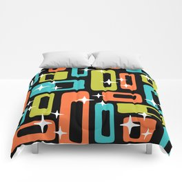 Retro Mid Century Modern Abstract Pattern 222 Orange Chartreuse Turquoise Comforters