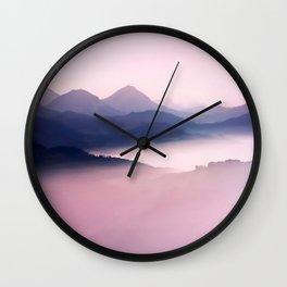 Foggy Mountains II Wall Clock