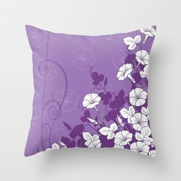 White Morning Glory Flowers with Purple Accents Throw Pillow