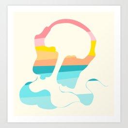 Headpones Rainbow Sunset Colors Art Print