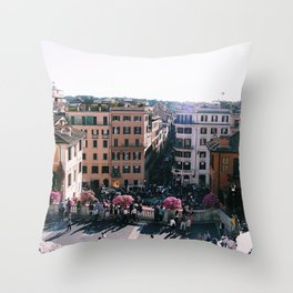 Spanish Steps in Spring Throw Pillow