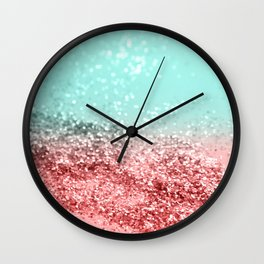 Summer Vibes Glitter #5 #coral #mint #shiny #decor #art #society6 Wall Clock