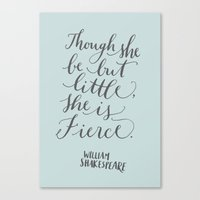 though she be but little Canvas Prints featuring Though She Be Little in Light Blue by imkellycummings