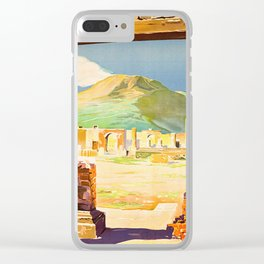 Vintage Pompei Italy Travel Clear iPhone Case