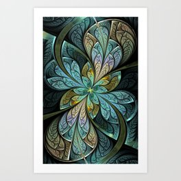 Aqua Abstract Stained Glass La Chanteuse Glace Art Print