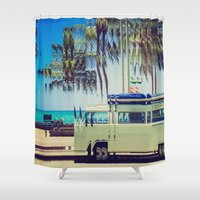 camp Shower Curtains featuring Camp Out by Back and Forth