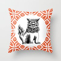 foo fighters Throw Pillows featuring Red Foo by MY  HOME
