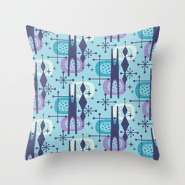 Retro Atomic Mid Century Pattern Teal Blue and Lavender Throw Pillow