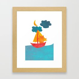 I Set Sea Under the Moonlight - A Cat and Boat and Moon. Framed Art Print