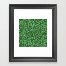 Seamless Christmas Lights (Green) Framed Art Print