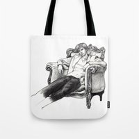 david tennant Tote Bags featuring David Tennant by Chloé Arros