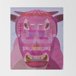 A Cow in Los Angeles Throw Blanket