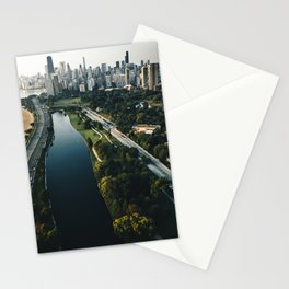 chicago aerial view of the skyline Stationery Cards