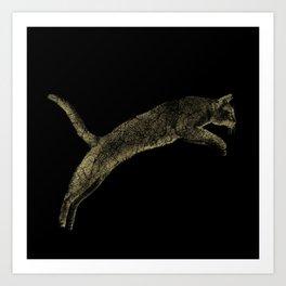 Abyssinian cat  jumping cracked metallic texture Art Print