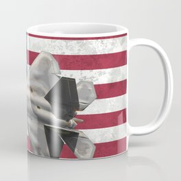 F22 Stealth Fighter Jet American Flag Coffee Mug