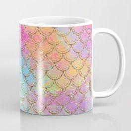 Pastel Mermaid Scales Gold Sparkle Glitter Coffee Mug
