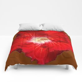 COFFEE BROWN RED & WHITE HIBISCUS FLOWER Comforters