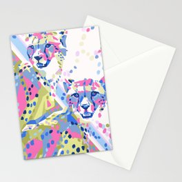 Bright and Colorful Cheetah Duo Stationery Cards