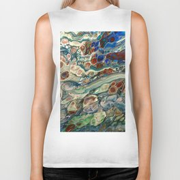 Blue Abstract Print Biker Tank