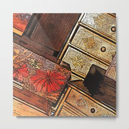 Tilted Wooden Boxes Metal Print