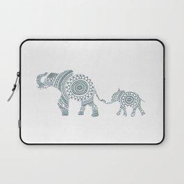 Mama Elephant Walking Baby Elephant Circle Art Laptop Sleeve