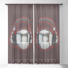 Headphone disco ball Sheer Curtain
