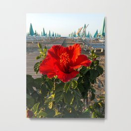 Red Beach Flower Metal Print