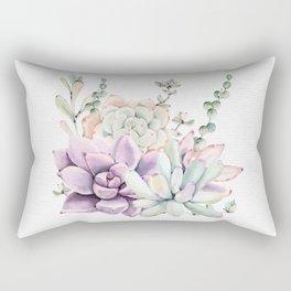 Succulents Sage + Purple Watercolor by Nature Magick Rectangular Pillow