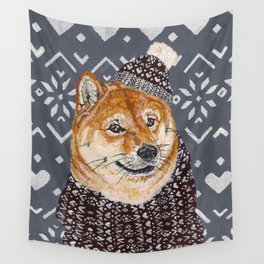 Shiba Inu in a  Hat and Scarf Wall Tapestry