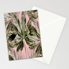 Large green leaves on a pink background - beautiful colors Stationery Cards