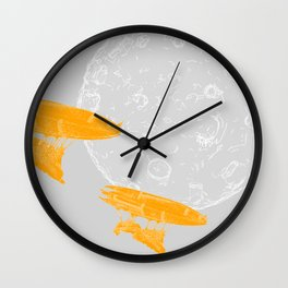 Around the Moon Grey and Orange Textured 4 Wall Clock