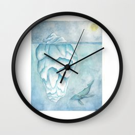 Whale swimming on the arctic night Wall Clock