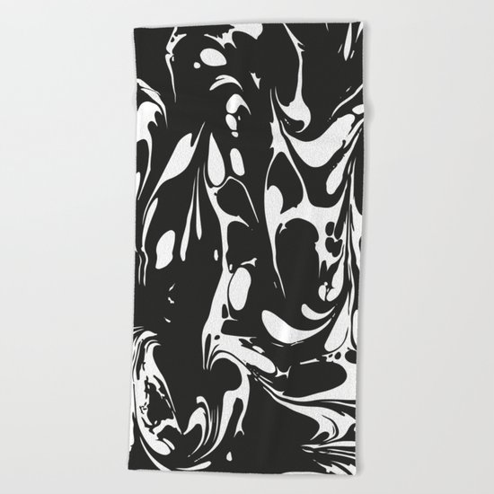 Black and White Marble Surface Design Beach Towel