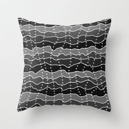 Four Shades of Black Squiggles with White Dots Throw Pillow