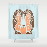 penguins Shower Curtains featuring Penguins by Hinterlund
