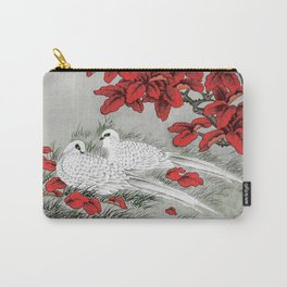 Vintage White Doves and Red Leaves on Gray / Grey Carry-All Pouch