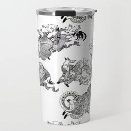 Kimono foxes Travel Mug